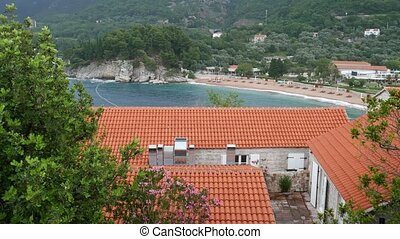 Private beach of the hotel Sveti Stefan, near the island.