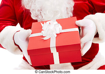 Christmas gift - Photo of Santa Claus hands holding red...