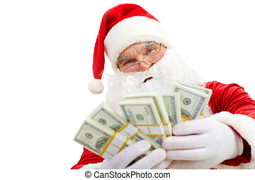 Santa with dollars - Photo of happy Santa Claus with dollar...