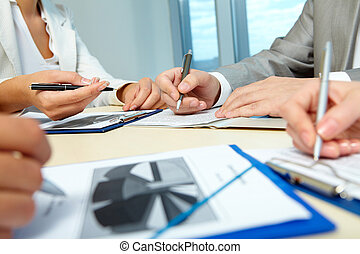 Sharing ideas - Image of business people hands working with...