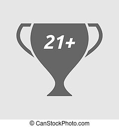 Isolated cup with the text 21+ - Illustration of an isolated...