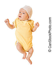 1 month  baby in onesie over white background