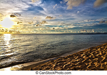 Sand beach at sunset in Phu Quoc close to Duong Dong, Vietnam