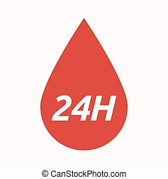 Isolated blood drop with the text 24H - Illustration of an...