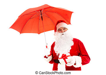 Congratulations! - Photo of happy Santa Claus with red...