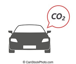 Isolated car with    the text CO2
