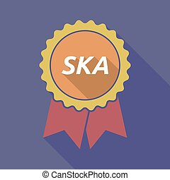 Long shadow badge with the text SKA - Illustration of a long...
