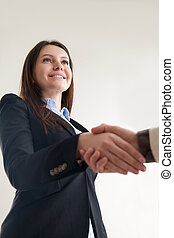 Portrait of beautiful smiling business lady shaking male hand, v