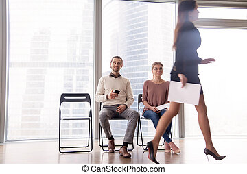 Job candidates gloating over female competitor walking after...