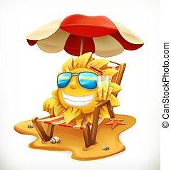 Beach umbrella and sun. 3d vector icon