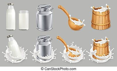 Milk can and splash. Natural dairy products. 3d vector icon...
