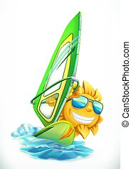Summer Windsurfing. Funny sun on surfboard 3d vector icon