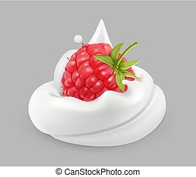 Whipped cream and raspberries, vector icon