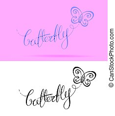 Butterfly Lettering - Vector Logo with custom single line...