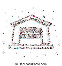 People placed in house symbol .3D illustration.
