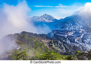 Huangshan National park. - Clouds above the peaks and hotels...