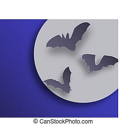 Bats flock in paper art style on night moon background. Flying bats silhouettes with shadows.