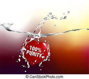 Valentines Day Concept, red hearts diving into the water