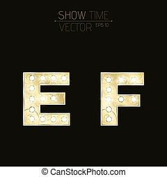 Gold letters E and F with sparkling light bulbs and a pattern. Alphabet for presentations and shows. Realistic vector illustration in 3d style