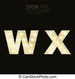 Gold letters W and X with sparkling light bulbs and a pattern. Alphabet for presentations and shows. Realistic vector illustration in 3d style