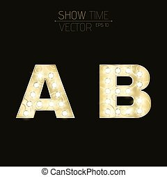 Gold letters A and B with sparkling light bulbs and a pattern. Alphabet for presentations and shows. Realistic vector illustration in 3d style