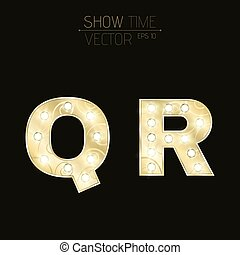 Gold letters Q and R with sparkling light bulbs and a pattern. Alphabet for presentations and shows. Realistic vector illustration in 3d style