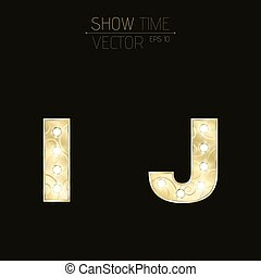 Gold letters I and J with sparkling light bulbs and a pattern. Alphabet for presentations and shows. Realistic vector illustration in 3d style