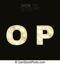 Gold letters O and P with sparkling light bulbs and a pattern. Alphabet for presentations and shows. Realistic vector illustration in 3d style