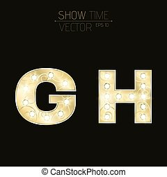 Gold letters G and H with sparkling light bulbs and a pattern. Alphabet for presentations and shows. Realistic vector illustration in 3d style