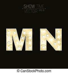 Gold letters M and N with sparkling light bulbs and a pattern. Alphabet for presentations and shows. Realistic vector illustration in 3d style