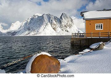 Morning in Sakrisoy at the Lofoten, Norway - Winter Morning...