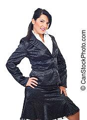 Attractive model woman in elegant suit