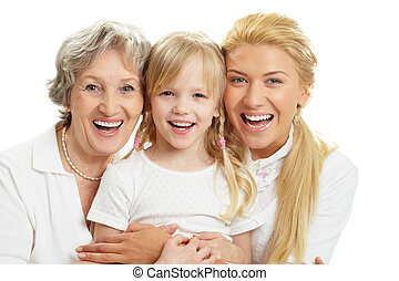 Joyful family - Portrait of grandmother with adult daughter...