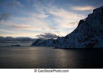 Sunset at A, Norway - Sunset near A at the Lofoten, Norway,...