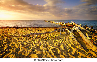 Whitefish Point, Michigan - Sunset on the beach of Lake...