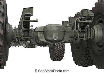 Truck military undercarriage chassis, close view - Truck...