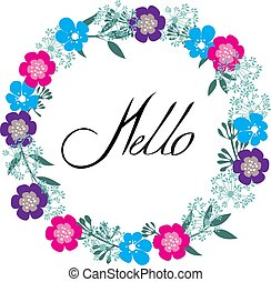 Hello - vector floral frame hello