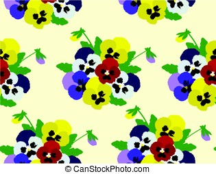 Pansies - vector pansies seamless background