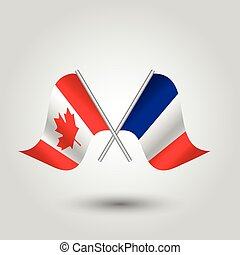 vector two crossed canadian and french flags on silver sticks - symbol of canada and france
