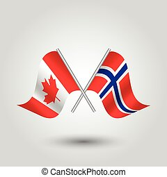 vector two crossed canadian and norwegian flags on silver sticks - symbol of canada and norway
