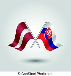 vector two crossed latvian and slovak flags on silver sticks...