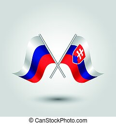 vector two crossed russian and slovak flags on silver sticks...