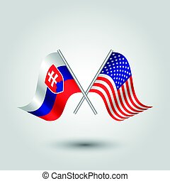 vector two crossed slovak and american flags on silver...