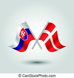 vector two crossed slovak and danish flags on silver sticks...