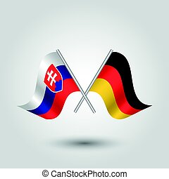 vector two crossed slovak and german flags on silver sticks...