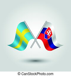 vector two crossed swedish and slovak flags on silver sticks...