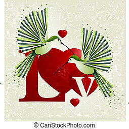 Love Concept - Valentines Day Concept, humming bird flying...