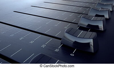 Sliding fader with volume inscription. Conceptual 4K clip...
