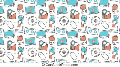 modern seamless texture background of flat technology and gadget icons.