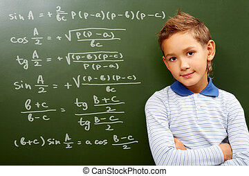 Young mathematic - Portrait of smart schoolchild by the...
